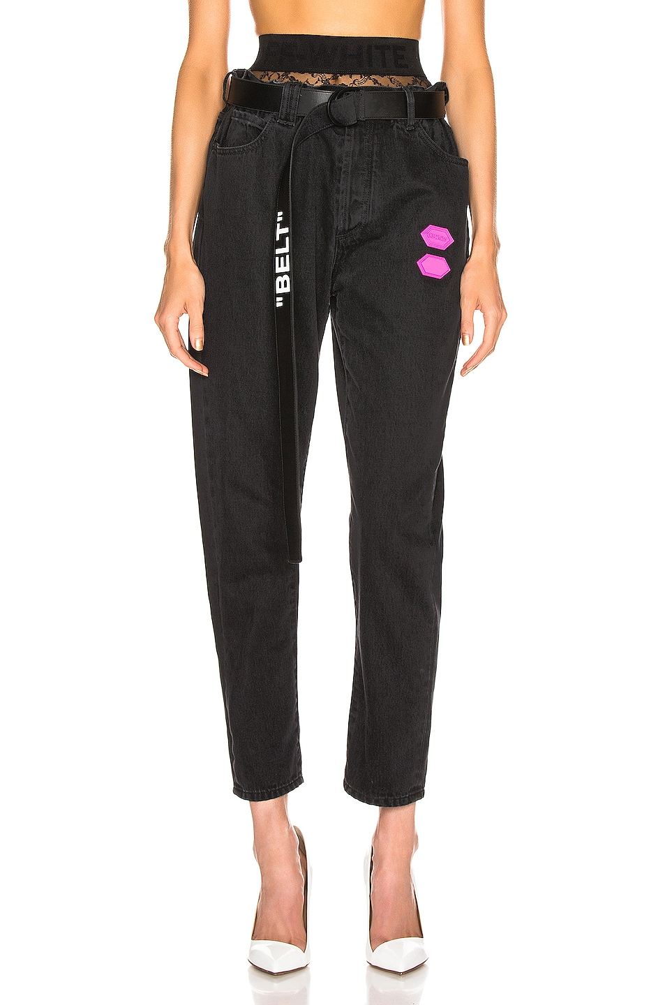 Image 2 of OFF-WHITE EXCLUSIVE Slim Low Crotch Pants in Black