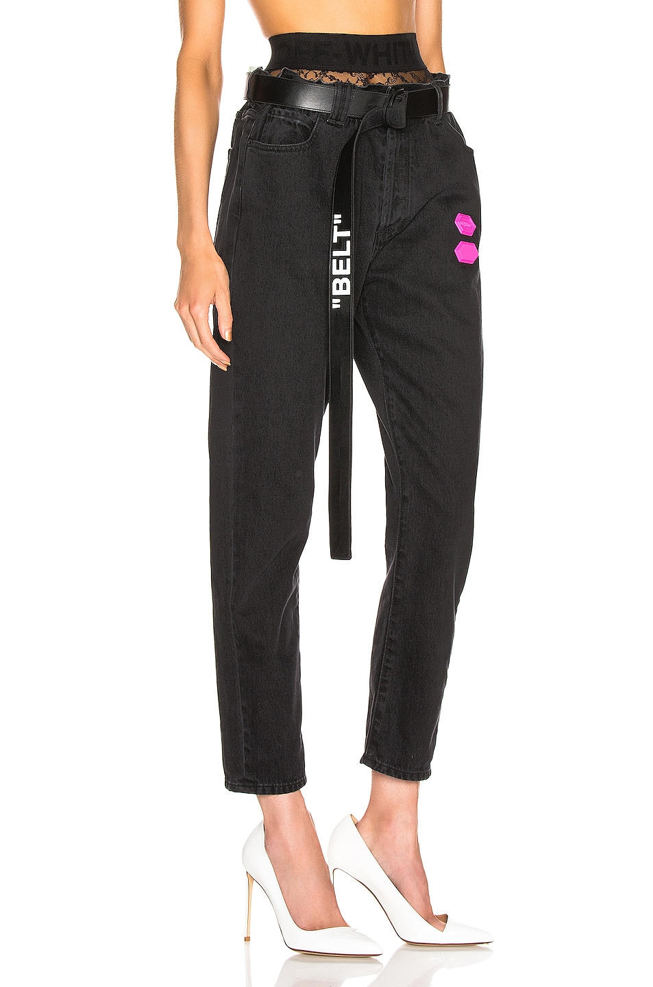 Image 3 of OFF-WHITE EXCLUSIVE Slim Low Crotch Pants in Black