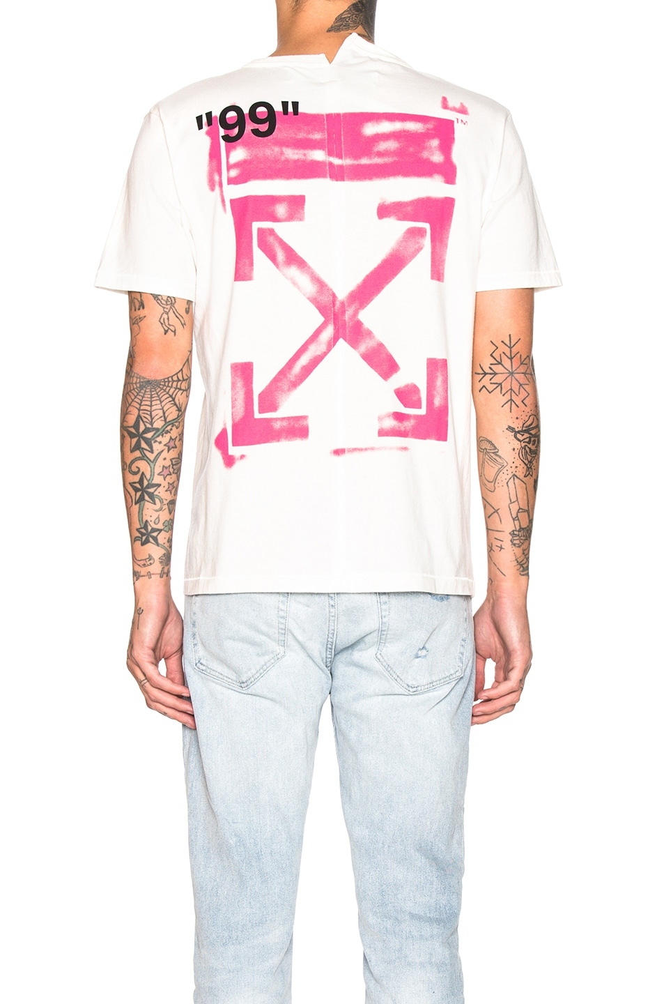 Image 4 of OFF-WHITE Stencil Spliced Tee in Off White & Fuchsia