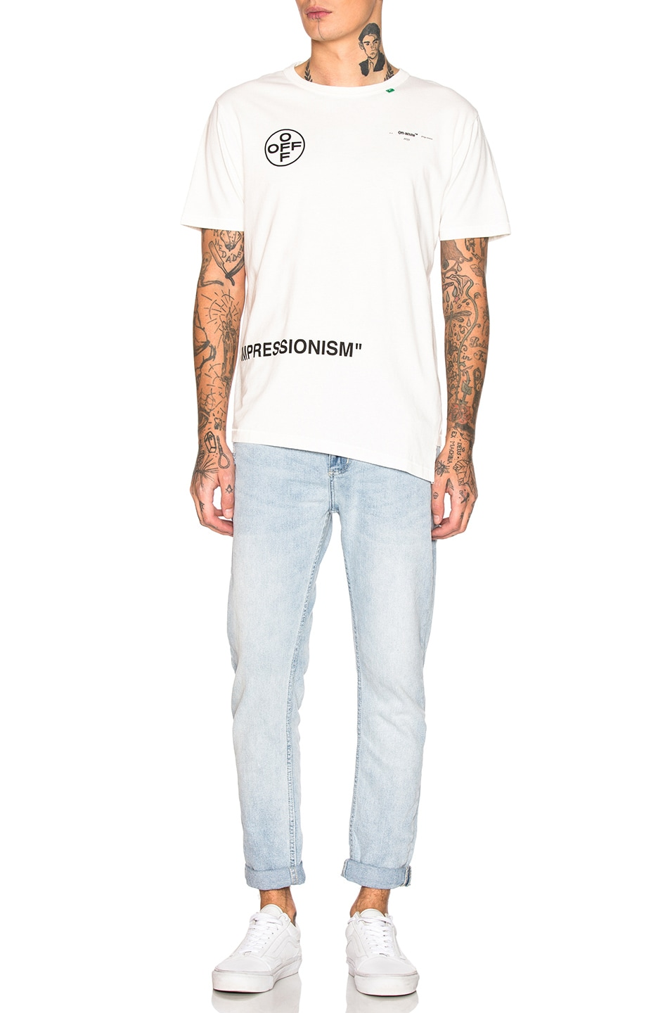 Image 5 of OFF-WHITE Stencil Spliced Tee in Off White & Fuchsia