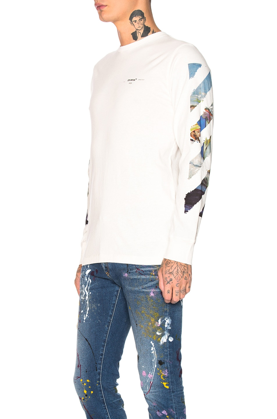 Image 4 of OFF-WHITE Diagonal Colored Arrows Longsleeve Tee in Off White Multi