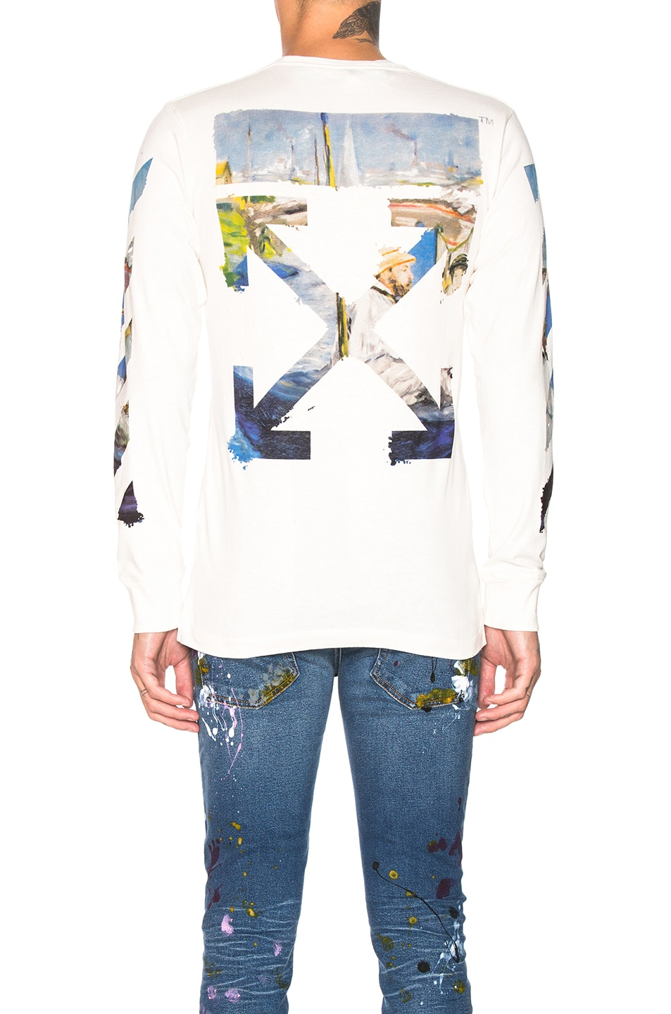 Image 5 of OFF-WHITE Diagonal Colored Arrows Longsleeve Tee in Off White Multi