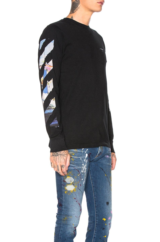 Image 3 of OFF-WHITE Diagonal Colored Arrows Longsleeve Tee in Black Multi