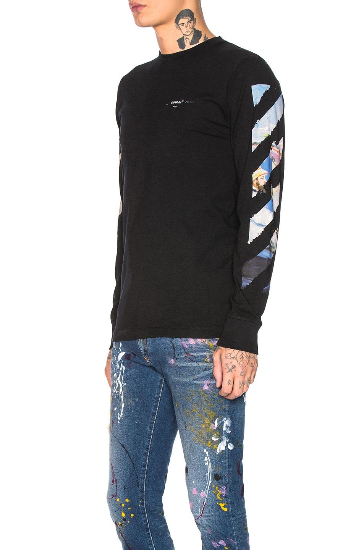 Image 4 of OFF-WHITE Diagonal Colored Arrows Longsleeve Tee in Black Multi