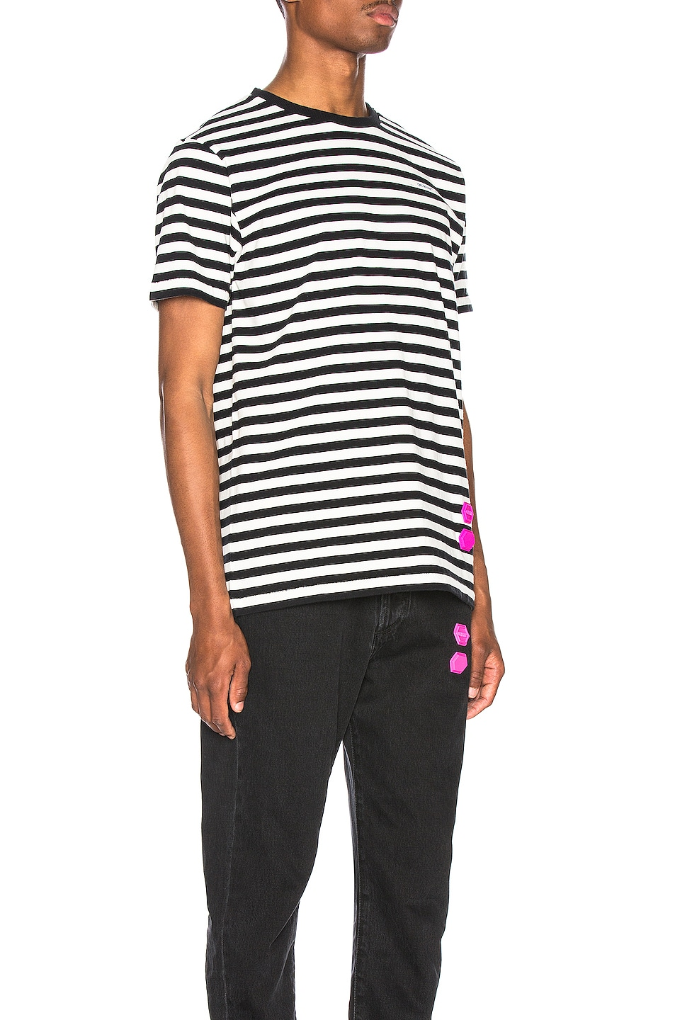 Image 2 of OFF-WHITE EXCLUSIVE Striped Tee in Black