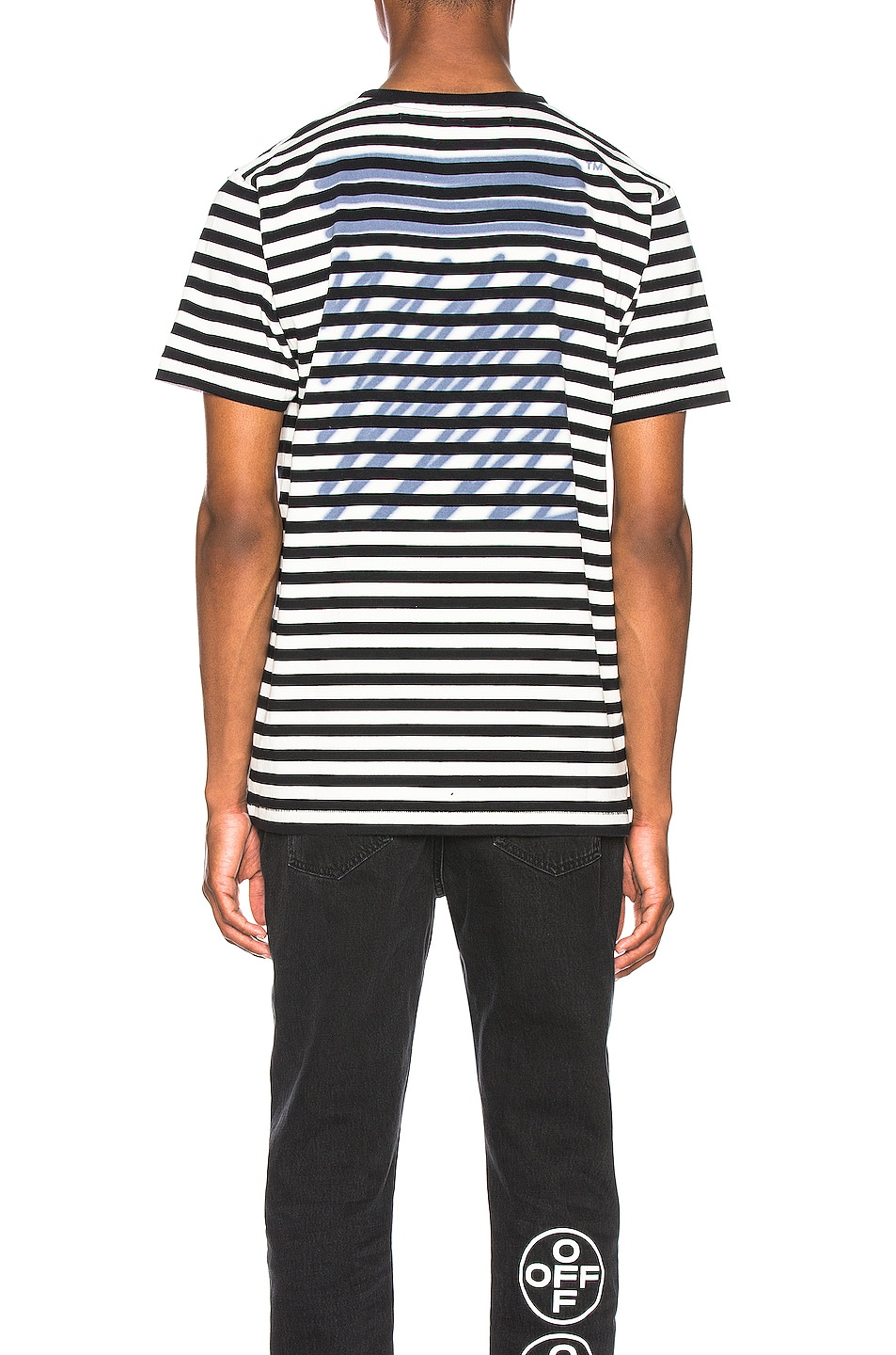 Image 3 of OFF-WHITE EXCLUSIVE Striped Tee in Black