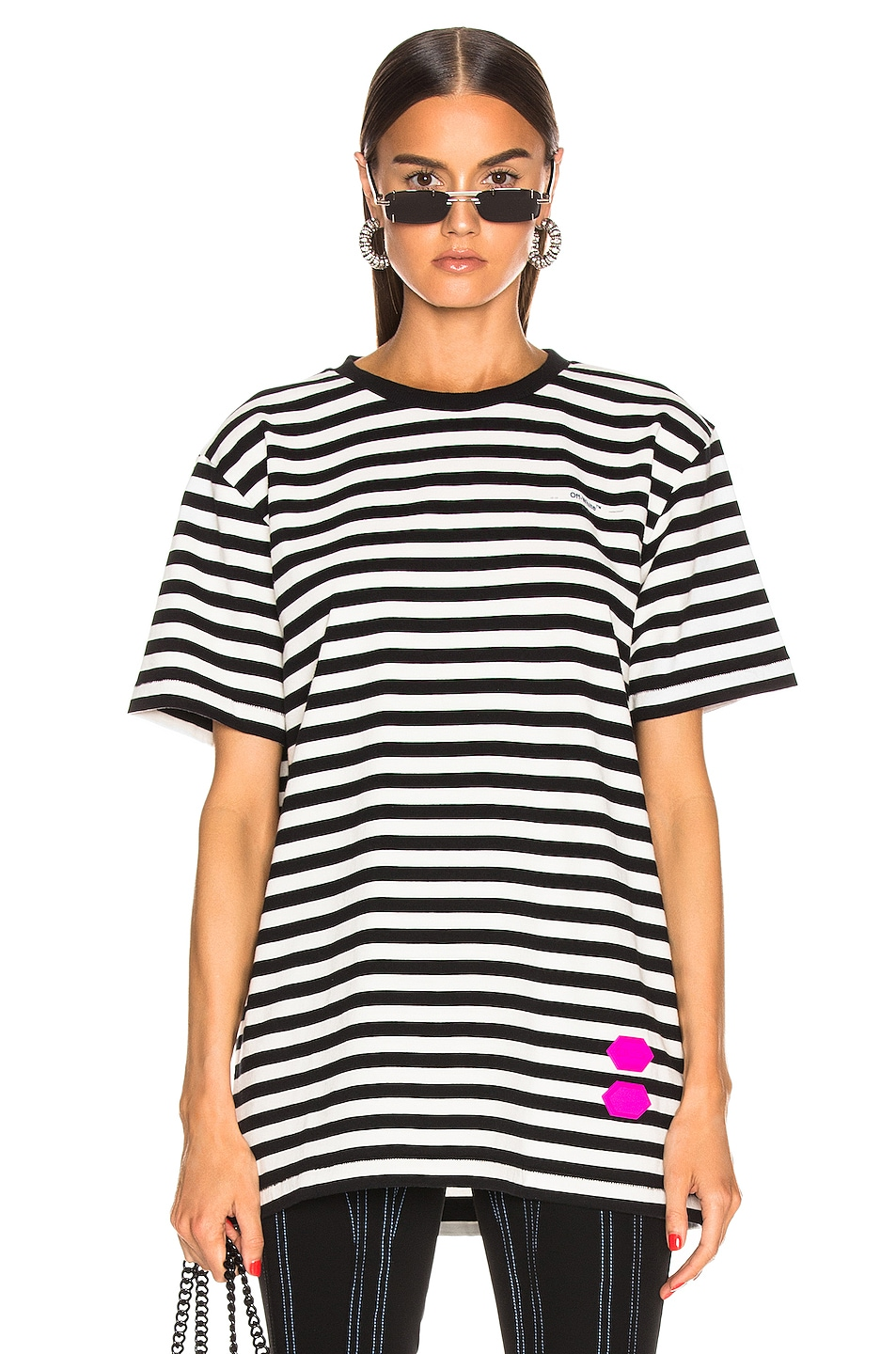 Image 1 of OFF-WHITE EXCLUSIVE Striped Tee in Black