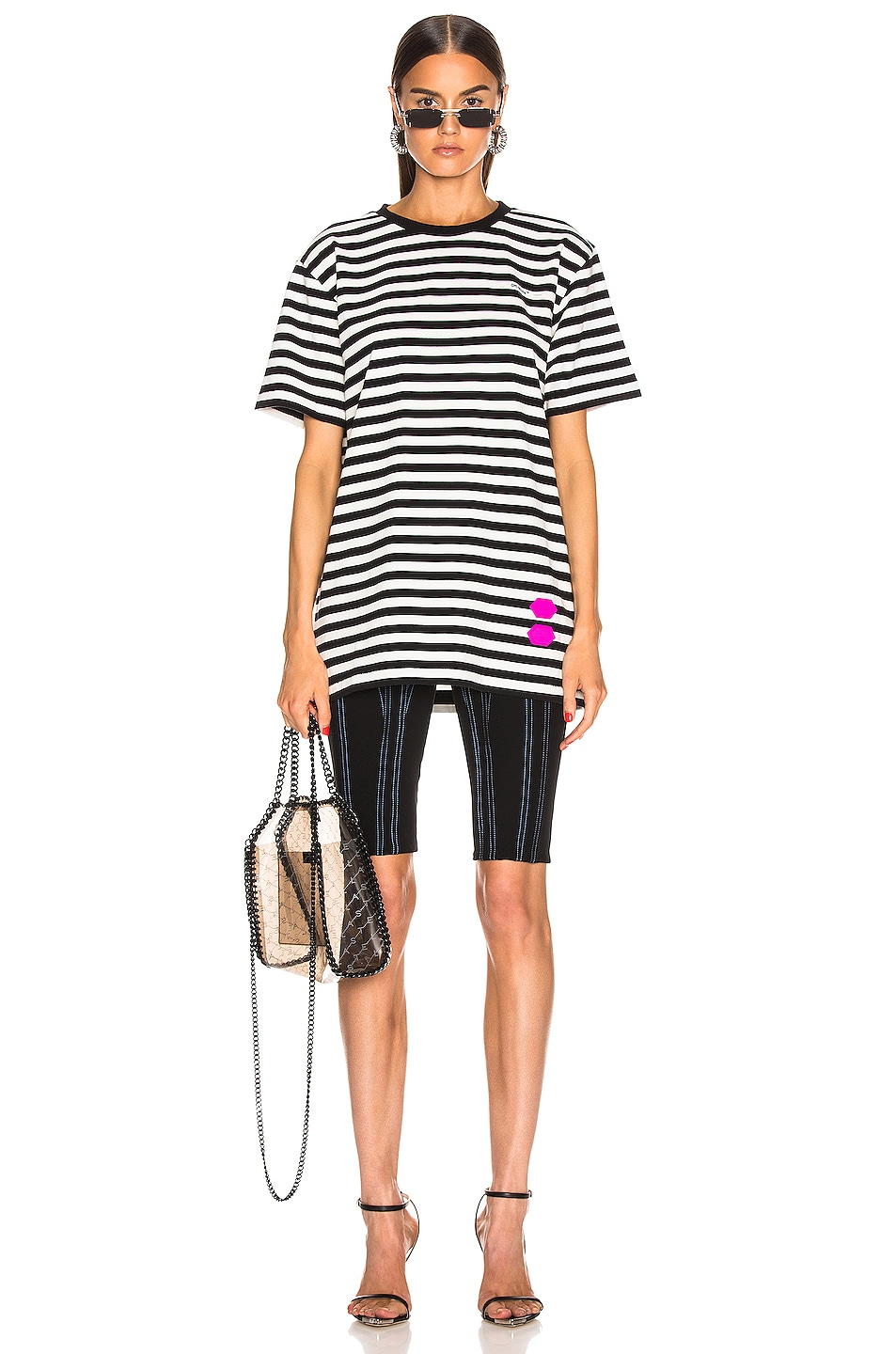 Image 4 of OFF-WHITE EXCLUSIVE Striped Tee in Black