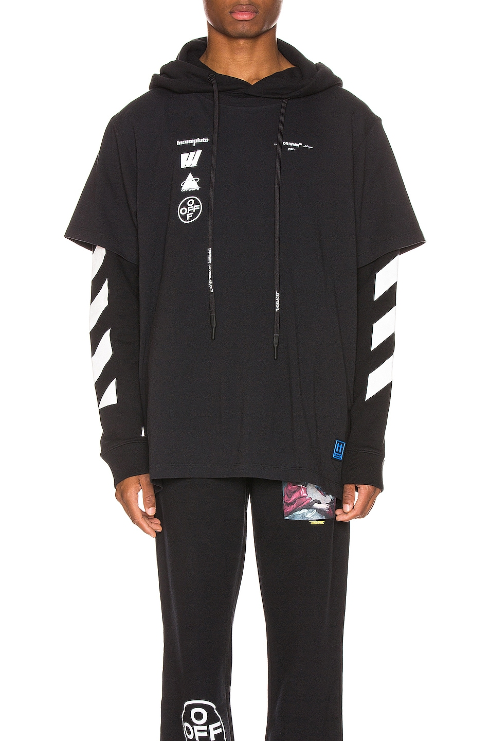 Image 1 of OFF-WHITE Diag Mariana Hooded Double Tee in Black Multi