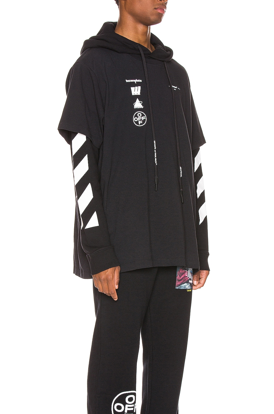 Image 2 of OFF-WHITE Diag Mariana Hooded Double Tee in Black Multi