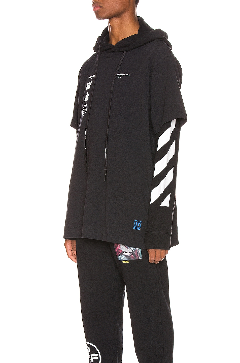 Image 3 of OFF-WHITE Diag Mariana Hooded Double Tee in Black Multi
