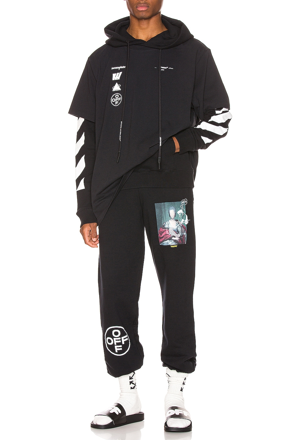 Image 5 of OFF-WHITE Diag Mariana Hooded Double Tee in Black Multi