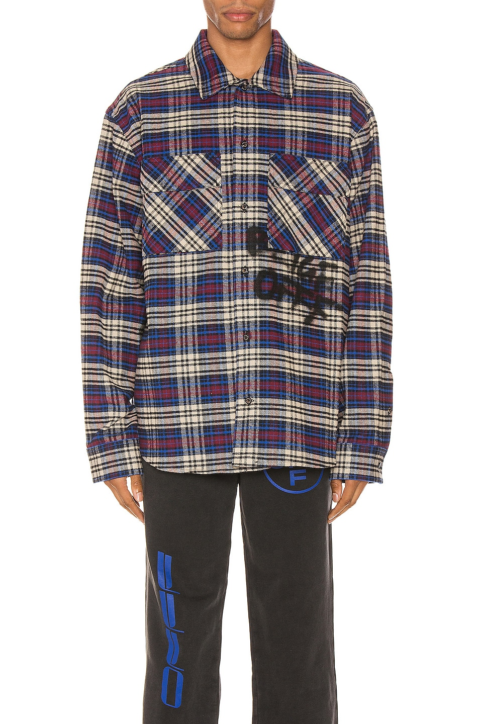 Image 1 of OFF-WHITE Flannel Check Shirt in Blue & Black