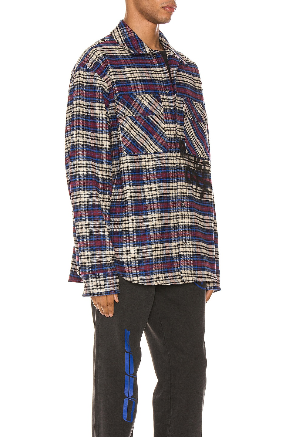 Image 2 of OFF-WHITE Flannel Check Shirt in Blue & Black