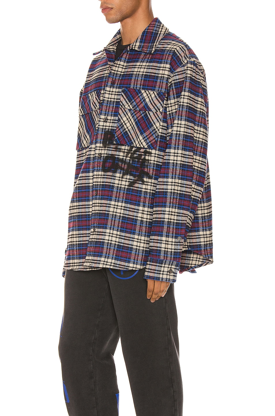 Image 3 of OFF-WHITE Flannel Check Shirt in Blue & Black