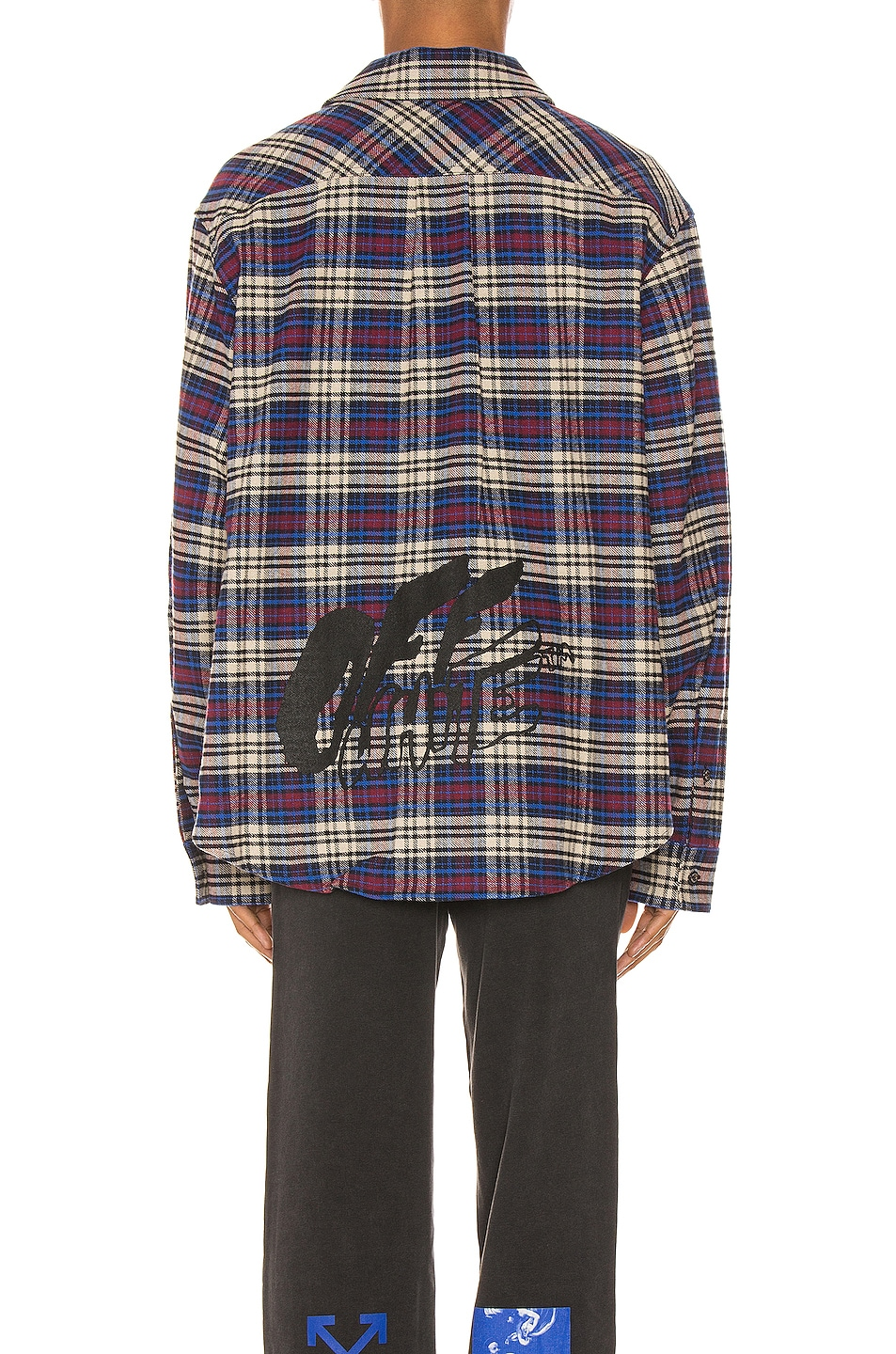 Image 4 of OFF-WHITE Flannel Check Shirt in Blue & Black