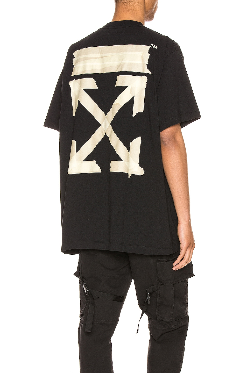 Image 1 of OFF-WHITE Tape Arrows Over Tee in Black & Beige