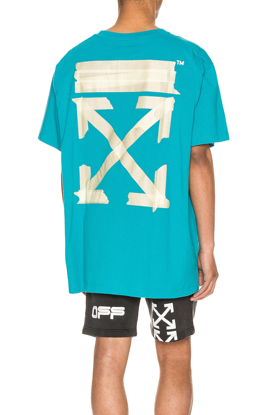 Image 1 of OFF-WHITE Tape Arrows Over Tee in Petrol Blue