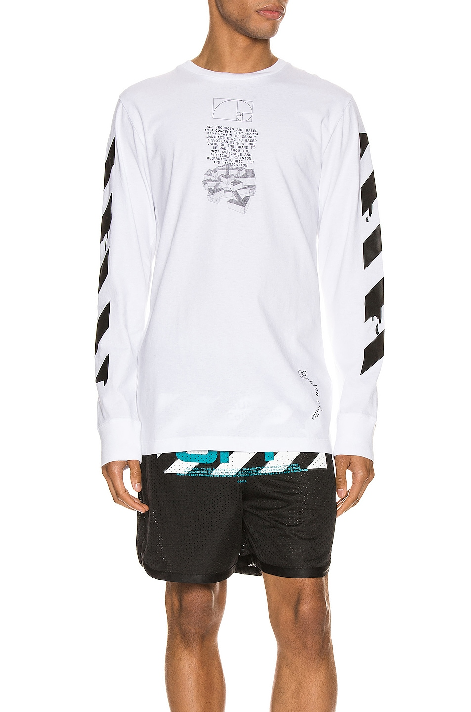 Image 1 of OFF-WHITE Dripping Arrows Long Sleeve Tee in White & Black