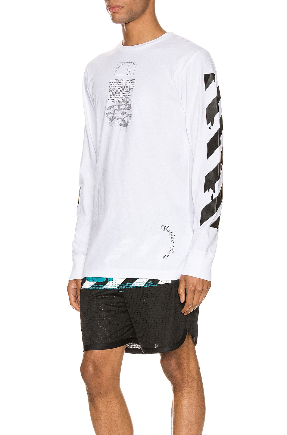 Image 3 of OFF-WHITE Dripping Arrows Long Sleeve Tee in White & Black