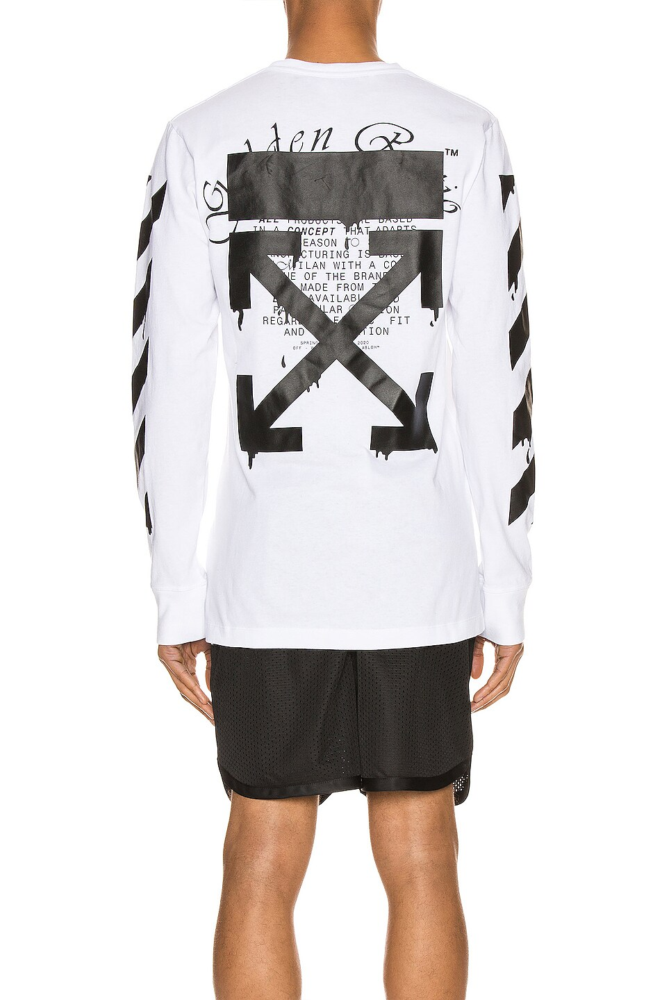 Image 4 of OFF-WHITE Dripping Arrows Long Sleeve Tee in White & Black