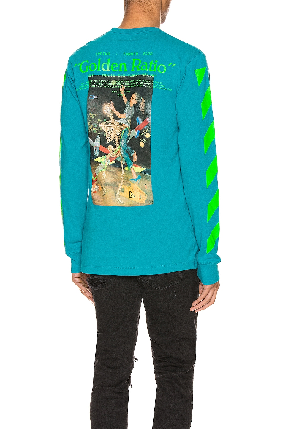 Image 1 of OFF-WHITE Pascal Painting Long Sleeve Tee in Petrol Blue & Multi