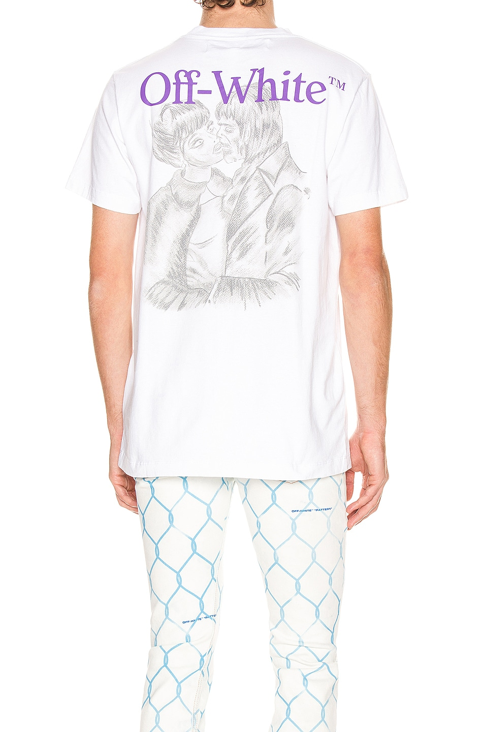 Image 1 of OFF-WHITE Pencil Kiss Short Sleeve Tee in White & Multi