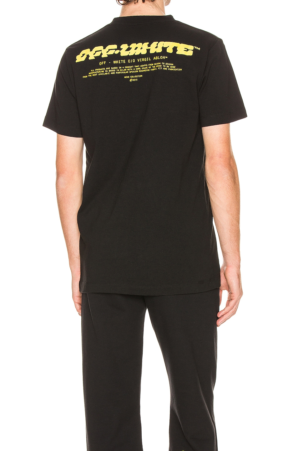 Image 1 of OFF-WHITE Disrupted Font Short Sleeve Tee in Black & Yellow