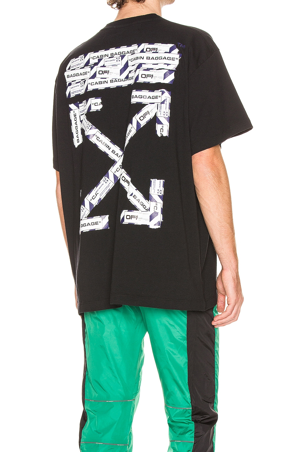 Image 1 of OFF-WHITE Airport Tape Short Sleeve Tee in Black & Multi