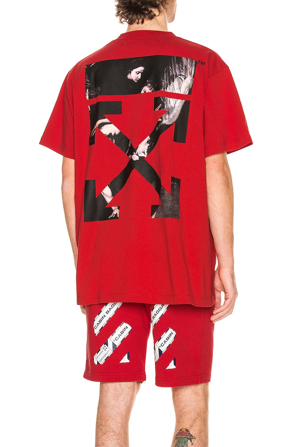 Image 1 of OFF-WHITE Caravaggio Arrow Over Tee in Red