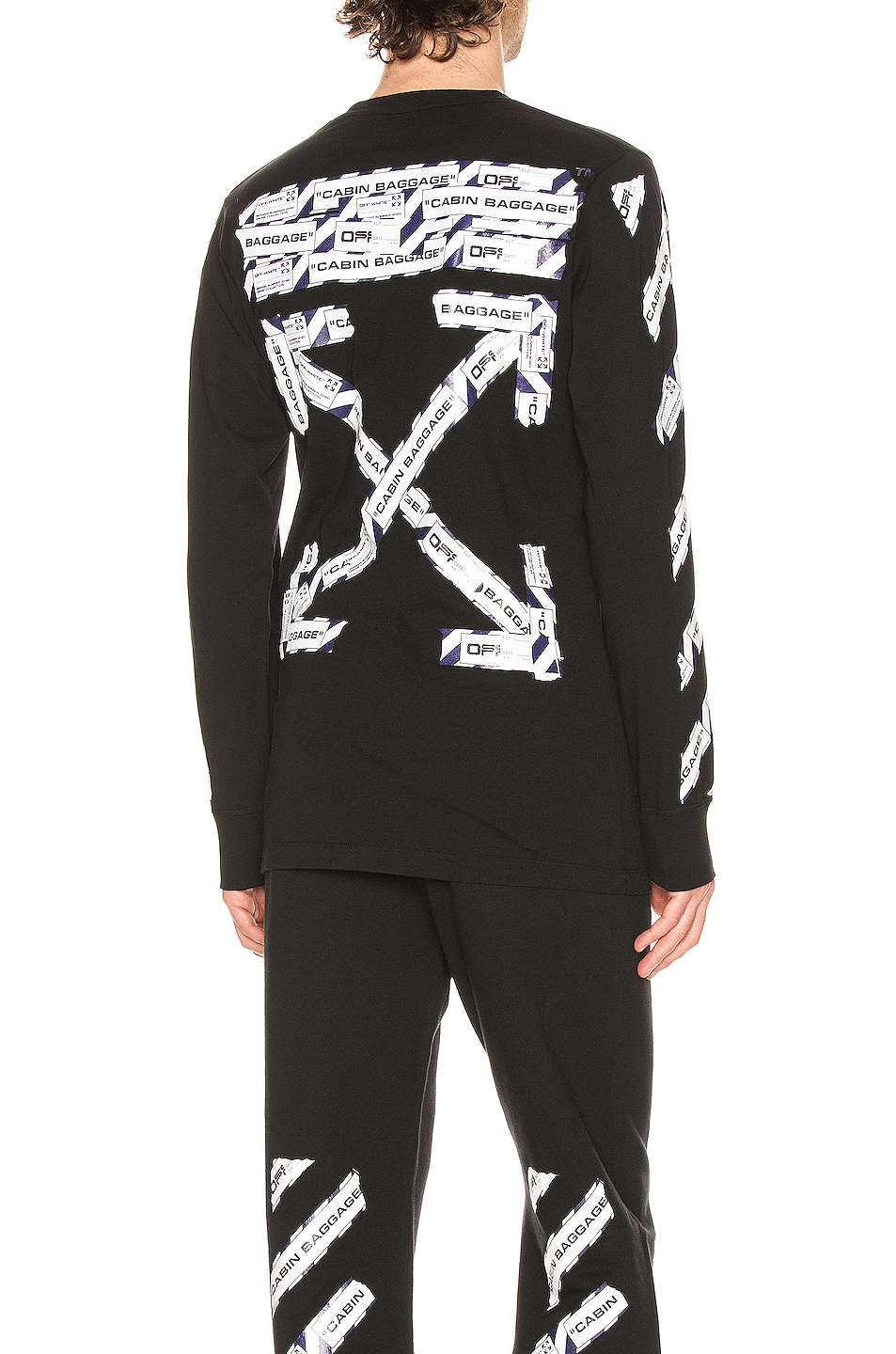 Image 1 of OFF-WHITE Airport Tape Long Sleeve Tee in Black & Multi