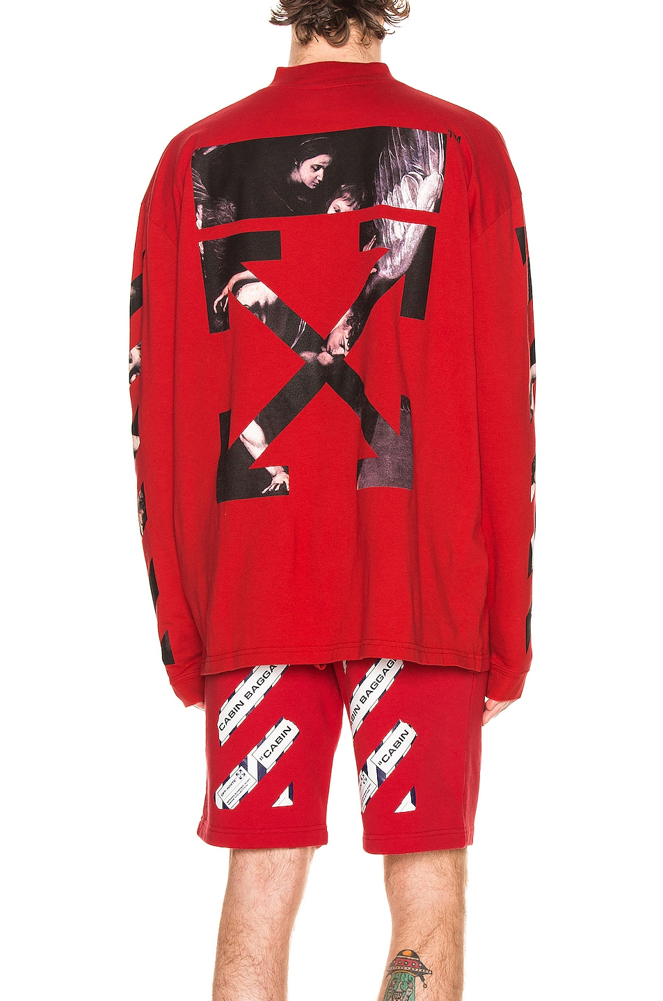 Image 1 of OFF-WHITE Caravaggio Arrow Mock Neck Tee in Red & Multi