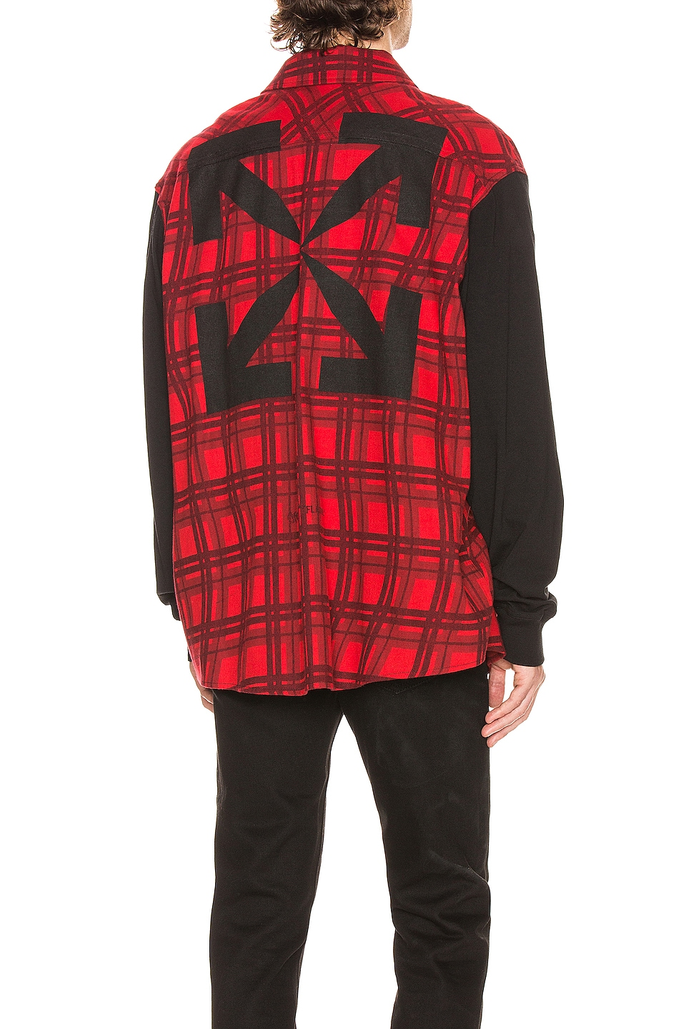 Image 1 of OFF-WHITE Contrast Sleeve Shirt in Red & Black