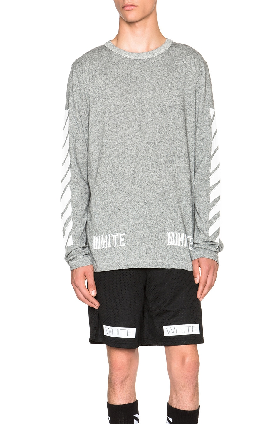 59b14599511f Image 1 of OFF-WHITE 3D White Long Sleeve Tee in Grey