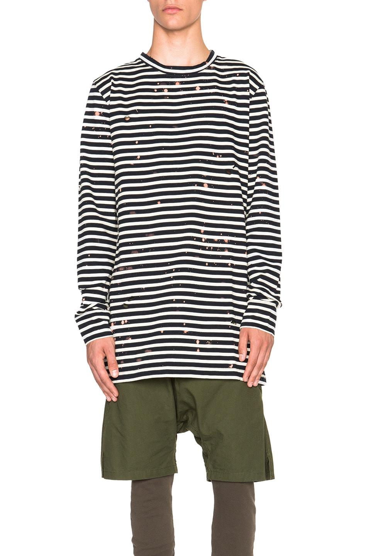 21926aa46 Image 1 of OFF-WHITE Stripe Long Sleeve Tee in Dark Blue Black