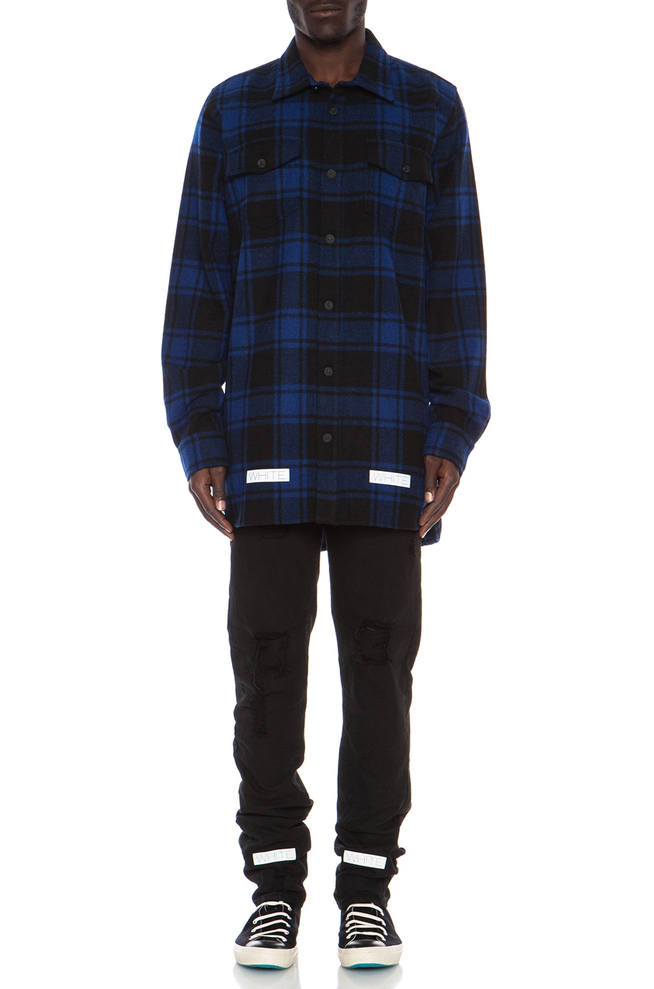 49fcc4434d7 Image 1 of OFF-WHITE Button Down Wool-Blend Flannel in Blue Check
