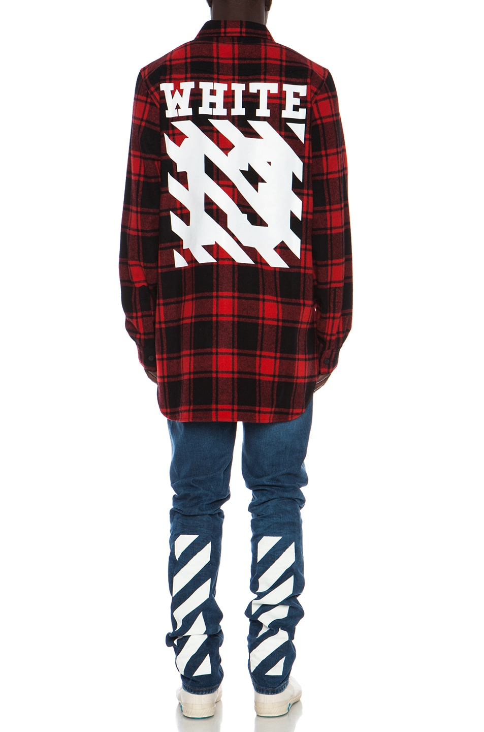 0bc96ee7941 Image 4 of OFF-WHITE Button Down Wool-Blend Flannel in Red Check