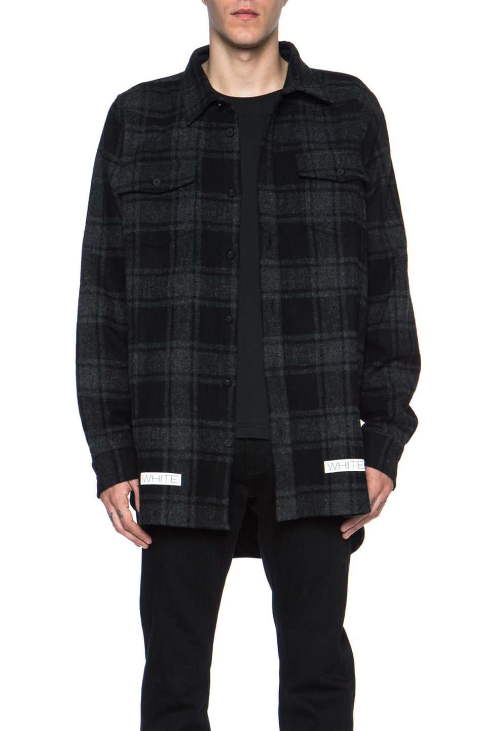 5c699392fd1 Image 1 of OFF-WHITE Button Down Wool-Blend Flannel in Charcoal Check