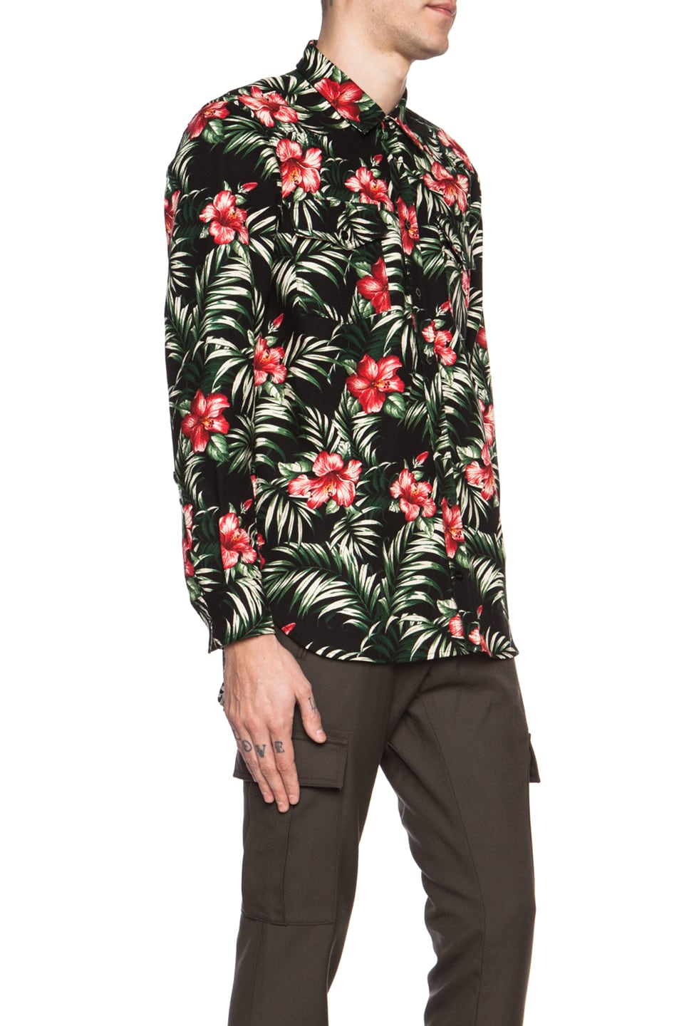 a8ef35bacc97 Image 3 of OFF-WHITE Floral Cotton Shirt in Black