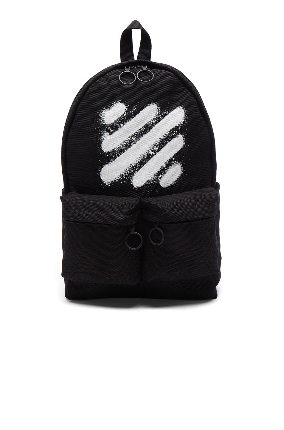Image 1 of OFF-WHITE Diagonal Spray Backpack in Black & White