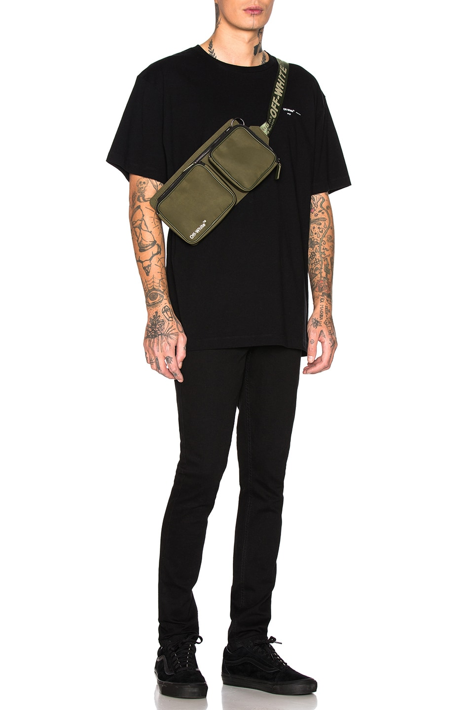 Image 2 of OFF-WHITE Hip Bag in Military Green & White