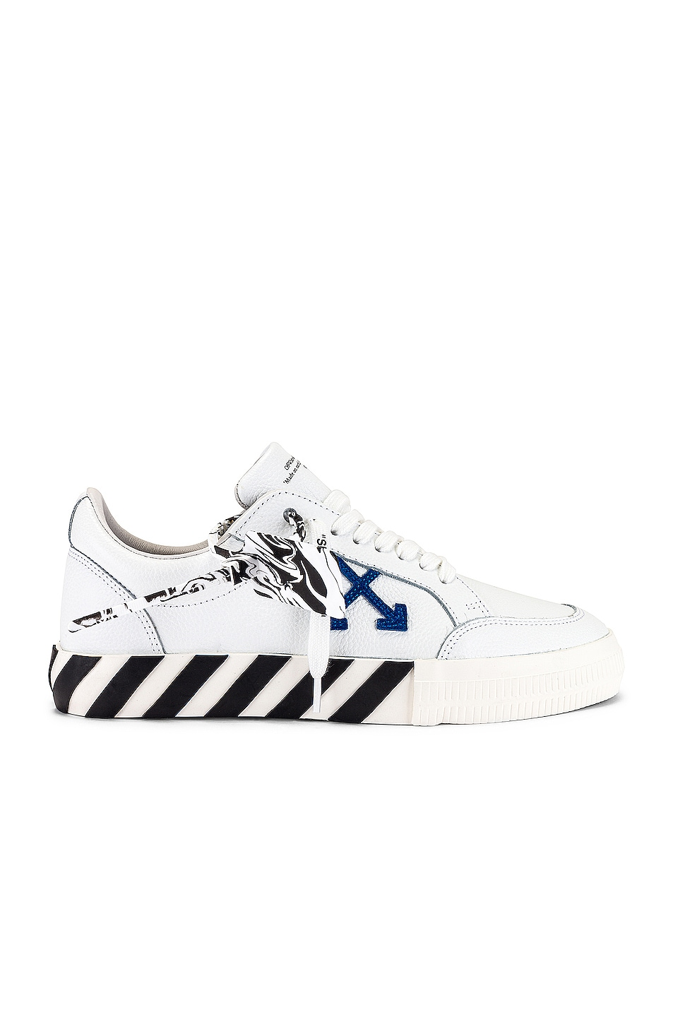 Image 1 of OFF-WHITE Low Vulcanized Leather Sneaker in White & Blue