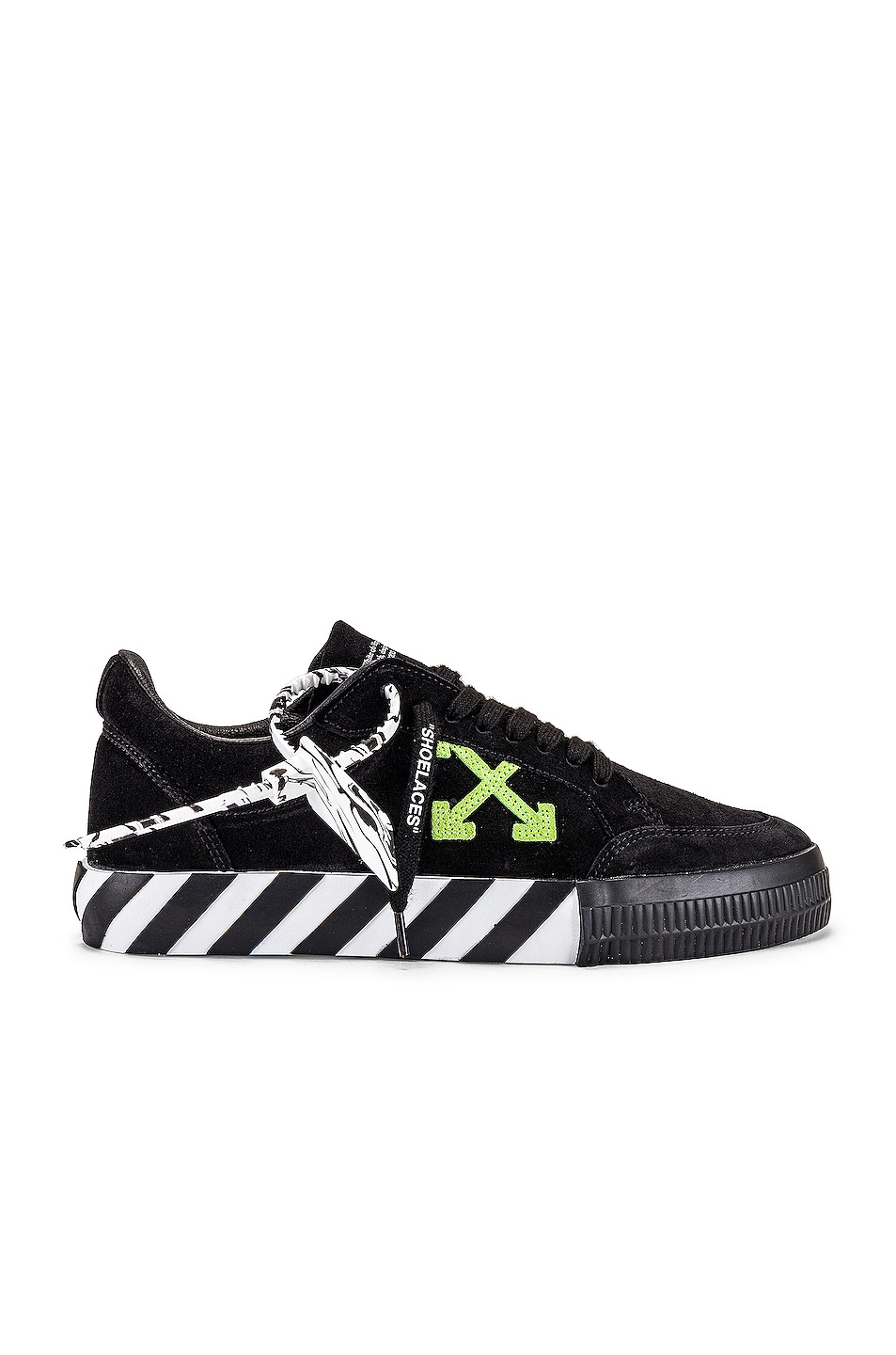 Image 1 of OFF-WHITE Low Vulcanized Suede Sneaker in Black & Green