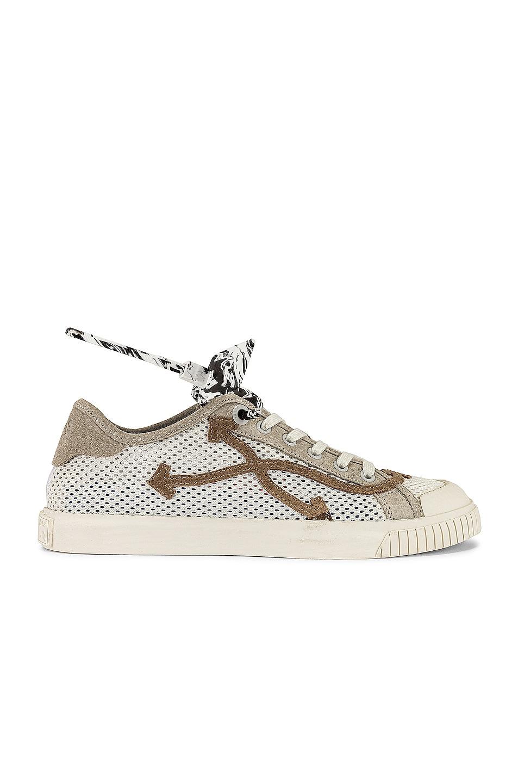 Image 1 of OFF-WHITE New Low Vulcanized Meshnet Sneaker in White & Beige