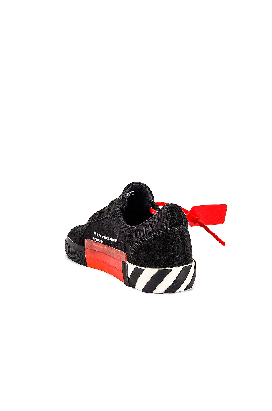 Image 3 of OFF-WHITE Low Vulcanized Sneaker in Black & Fuchsia