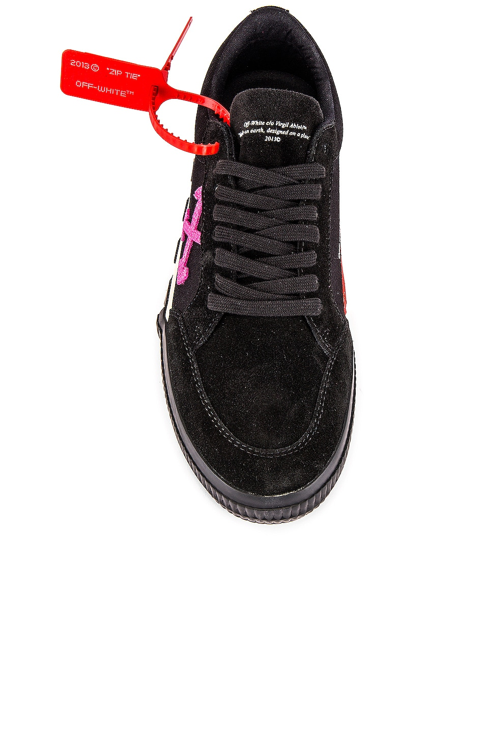 Image 4 of OFF-WHITE Low Vulcanized Sneaker in Black & Fuchsia