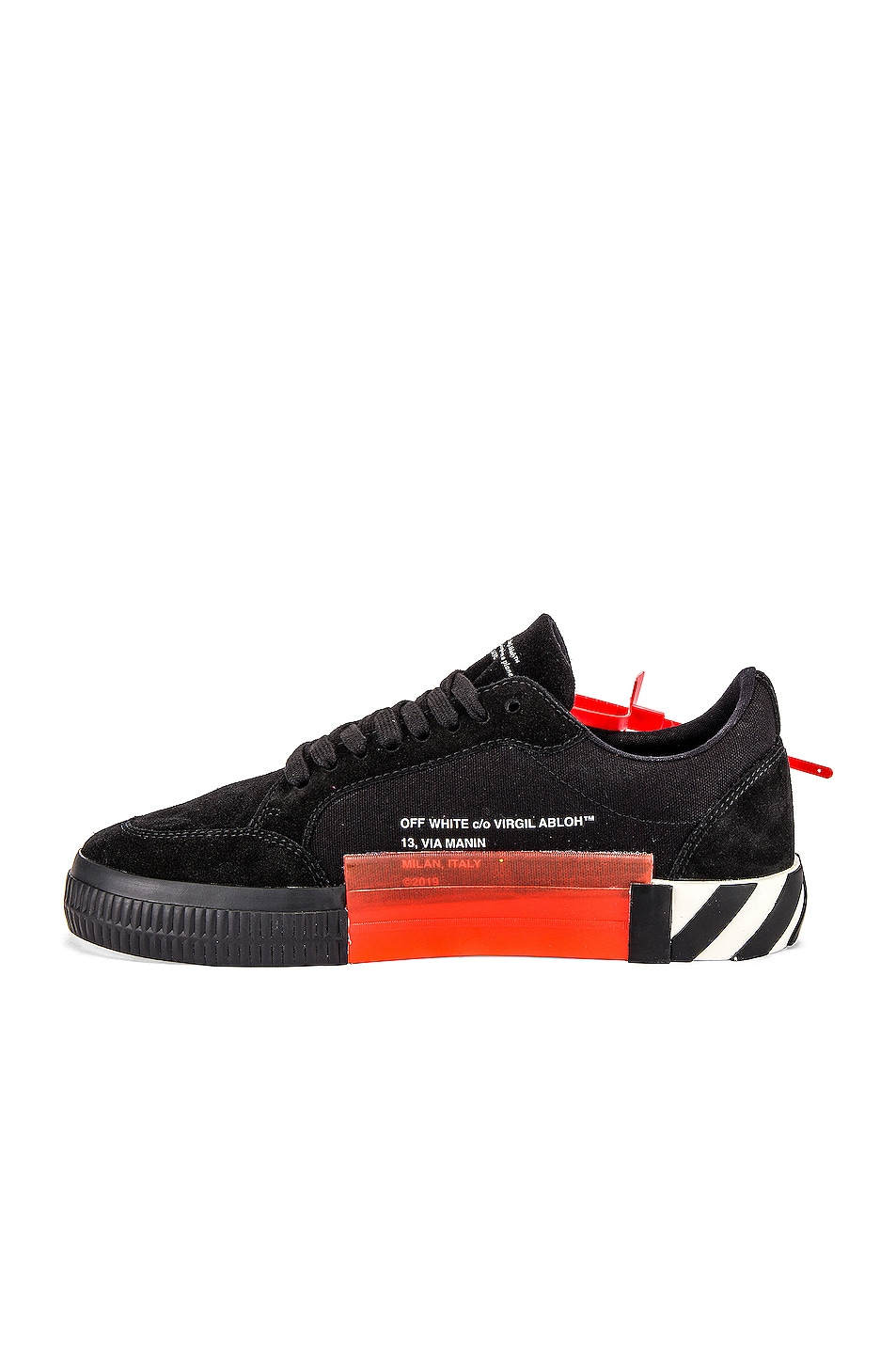 Image 5 of OFF-WHITE Low Vulcanized Sneaker in Black & Fuchsia