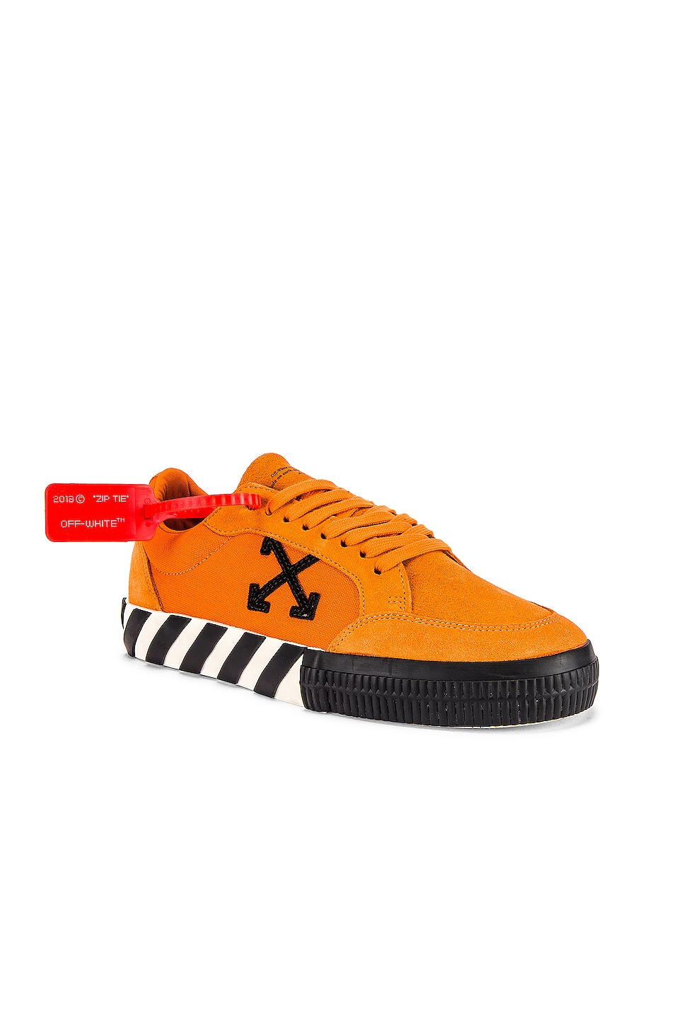 Image 1 of OFF-WHITE Low Vulcanized Sneaker in Orange & Black