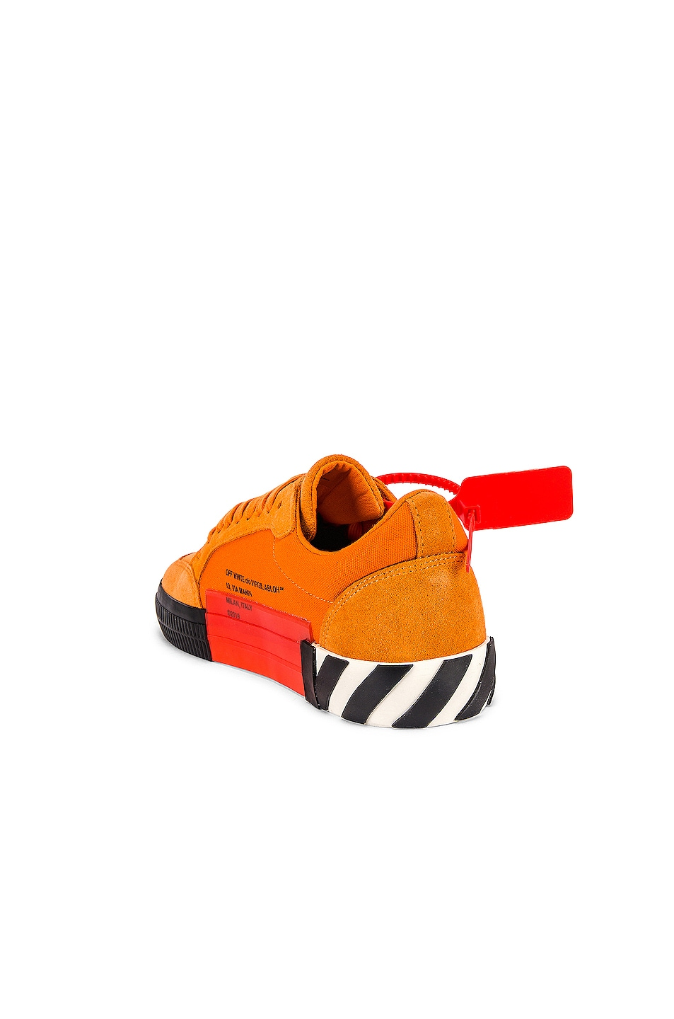 Image 3 of OFF-WHITE Low Vulcanized Sneaker in Orange & Black