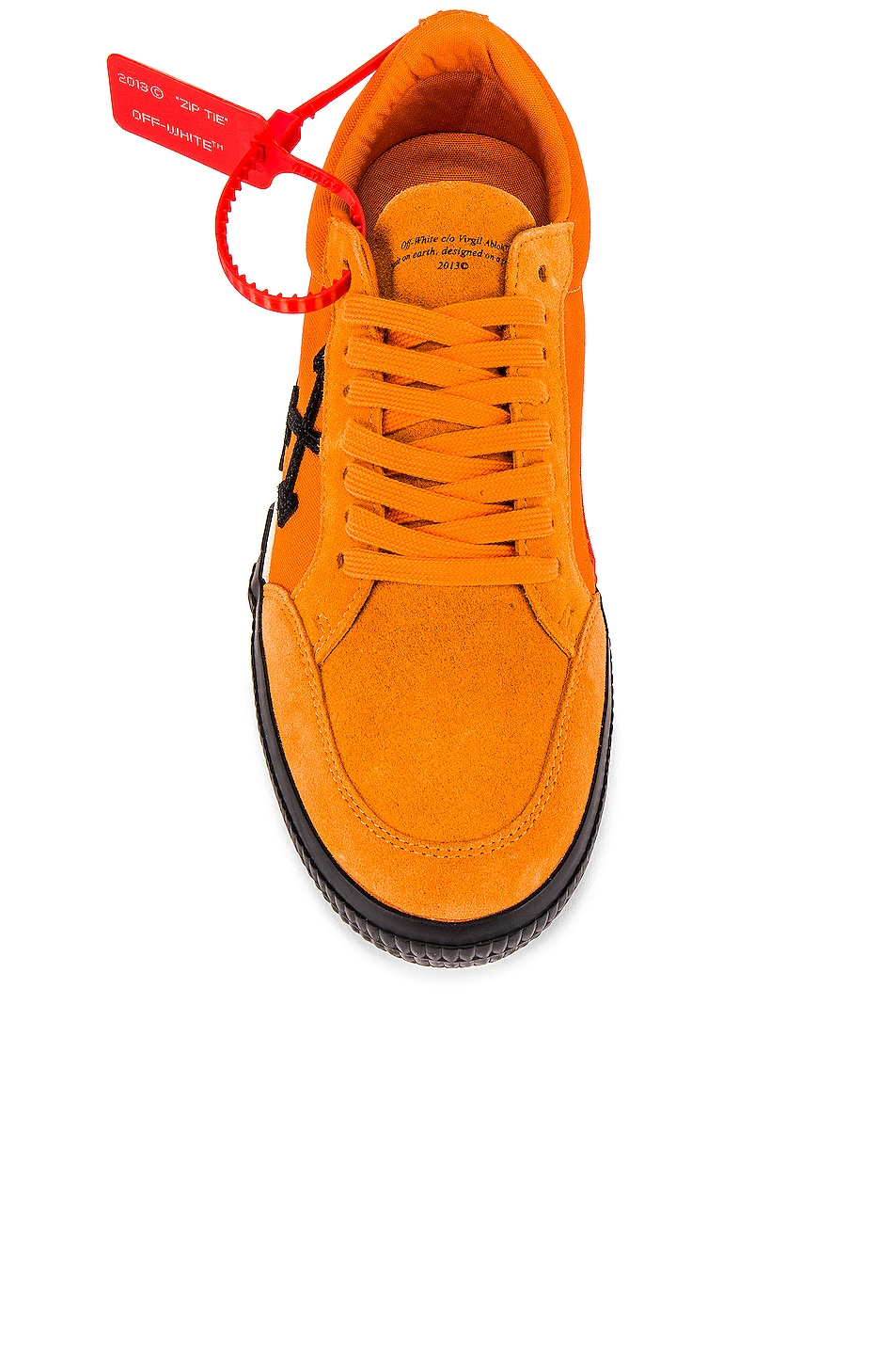 Image 4 of OFF-WHITE Low Vulcanized Sneaker in Orange & Black